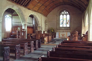 The interior of St Wyllow Church