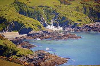 Lantic Bay lies to the south of the parish